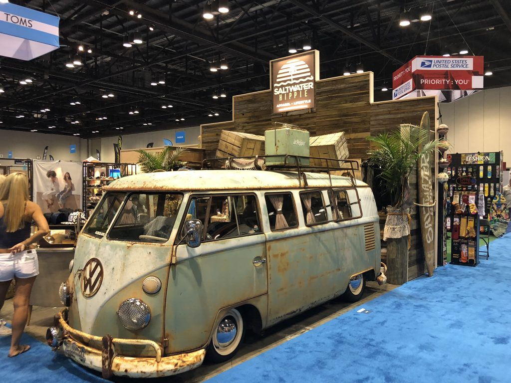 Saltwater Hippie's booth drew a lot of attention at SURF Expo 2018