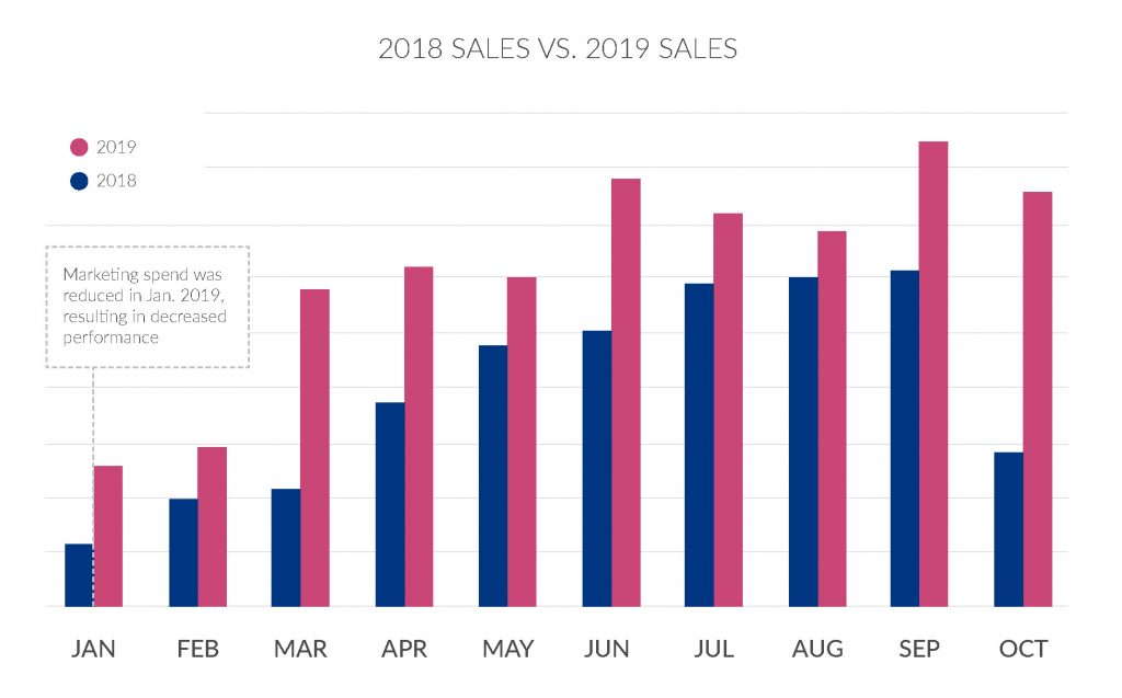 Amazon PPC software drove consistent year over year sales growth