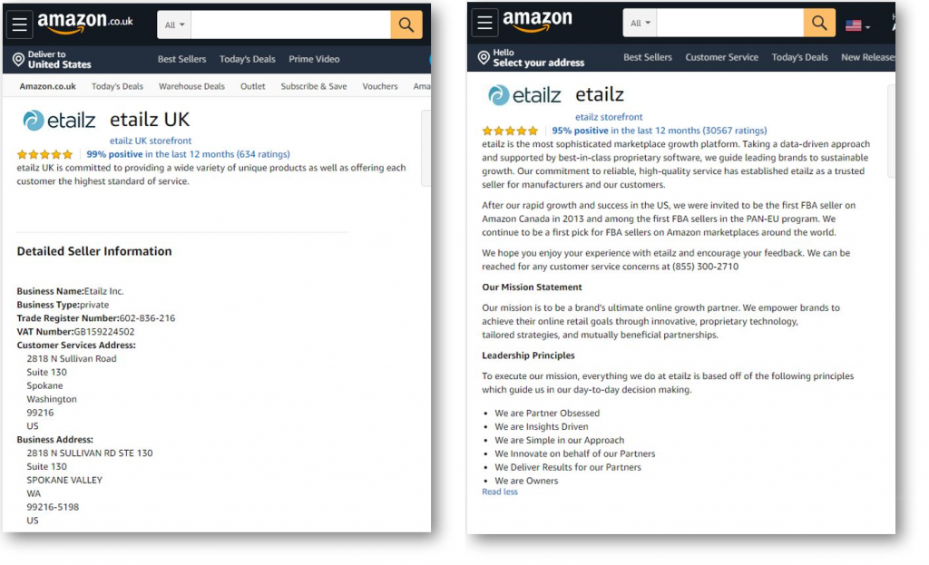 Amazon US and UK Seller profile comparison
