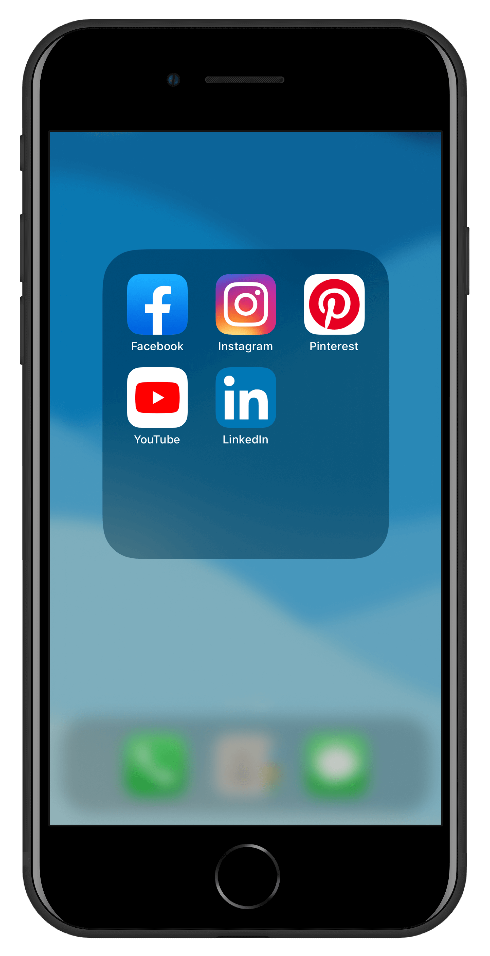 Phone screen displaying social media platforms - Facebook, Instagram, Pinterest, Youtube, LinkedIn