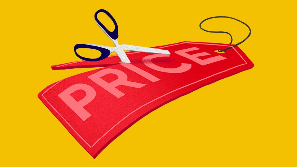 Scissors cutting price tag