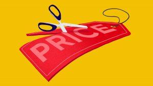 Scissors cutting price tag