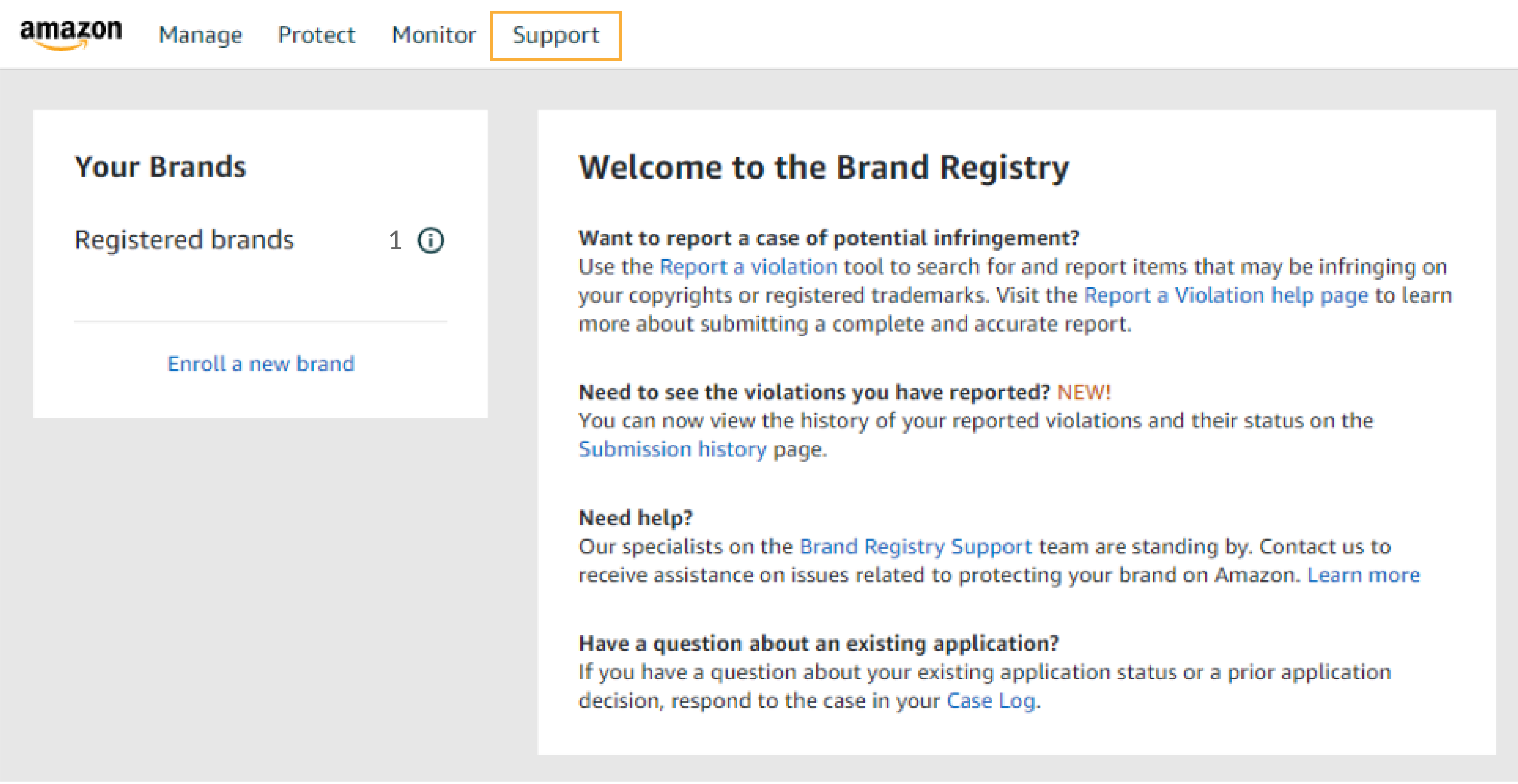 screenshot of amazon dashboard for Welcome to the Brand Registry
