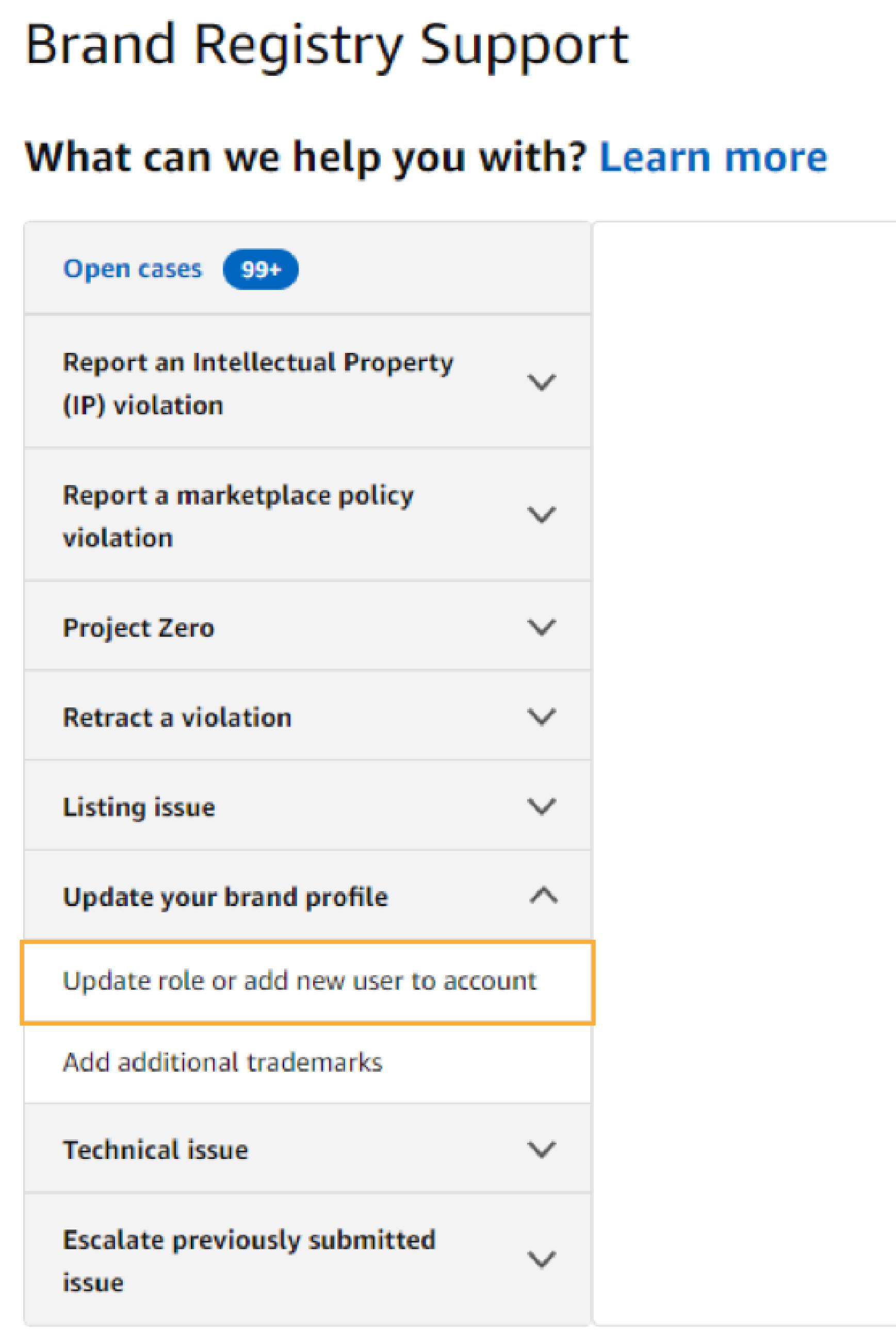 screenshot of Amazon Brand Registry Support