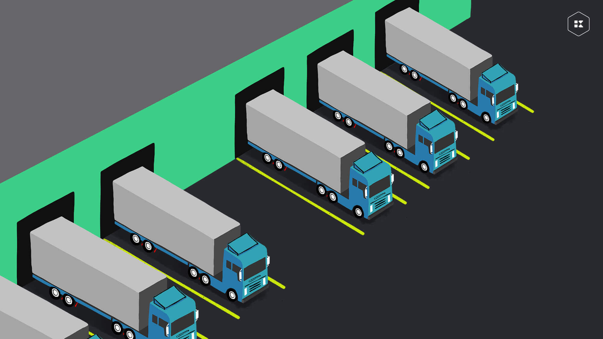 Semi trucks parked in loading docks of a warehouse play a key role in good supply chain management