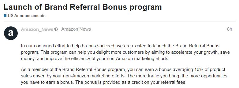 Brand Referral Bonus program