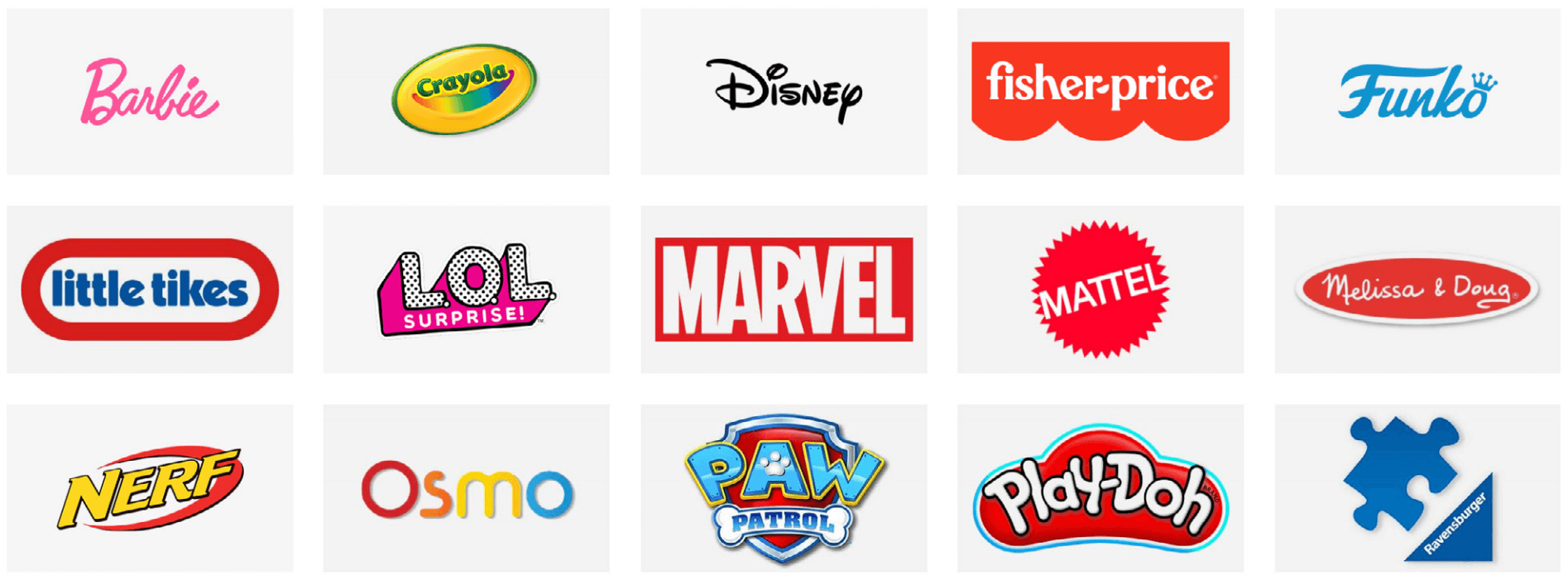 Toys and Games brand logos
